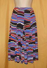 Premise women's multi black blue red coral striped full flared stretch PXL $58