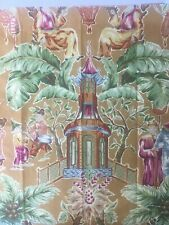 """Upholstery Fabric Textile Sample Remnant Scrap 26""""x25 1/2"""" Gold Green Rose Tan"""
