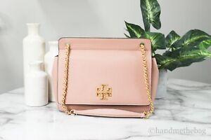 Tory Burch (82411) Britten Medium Pink Pebbled Leather Flap Chain Shoulder Bag