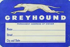 1940's-50's Greyhound Luggage Label Bus Transportation Dog Image F94