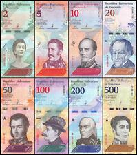 SET Venezuela, 2;5;10;20;50;100;200;500 Bolivares Soberanos 8 pcs 2018 P-New UNC