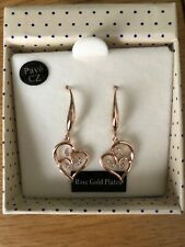 Pave Swirl Hearts Dangly Earrings Rose Gold Plated Equilibrium Sparkle
