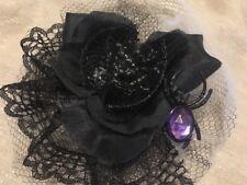 Creepy Spider Fascinator Hair Bow Black Rose Lace Halloween Goth Lolita Cosplay