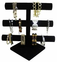 Black Velvet Triple Tier Jewelry Bracelet Organizer Display Stand Holder Case