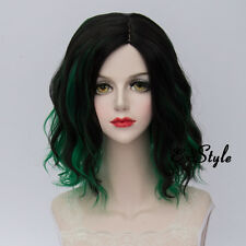 Medium Curly 35CM Green Mixed Black Fashion Ombre Lolita Women Cosplay Party Wig