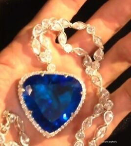 White Gold Finish Heart Of The Ocean Blue Trillion White Marquise Pear Necklace