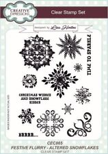 Merry Christmas Text Snowflakes Unmounted Clear Stamp Approx60x50mm Stars