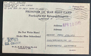 1945 USA POW Internment Camp Alva Postcard Cover To Germany K Zander