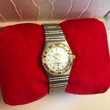 Omega Ladies Constellation Watch In 18K Gold / Stainless Steel w/ White MOP Dial