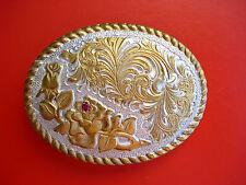VTG Western  Crumrine Heavy Silver Plate Jewelers' Bronze Belt Buckle