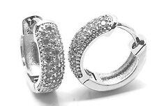 White Gold Crystal Bling Hoop Huggies Ear Stud Earrings Classic Unisex Earrings