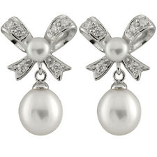 Fancy sterling silver rhodium plated tie shaped earrings with pearls ESR-173
