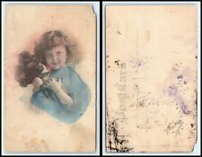 Vintage Postcard - Cute Girl Holding Flowers & Smiling - Color #B1