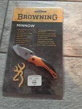 Browning Minnow Slate Small Pocket Folder Orange Black Aluminum Handle Knife 062