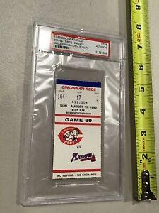 1993 Cincinnati Reds Atlanta Braves Maddux 4 Hit Win PSA Ticket Stub