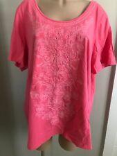 Laura Scott Womens  2X Pink Embroidered T Shirt