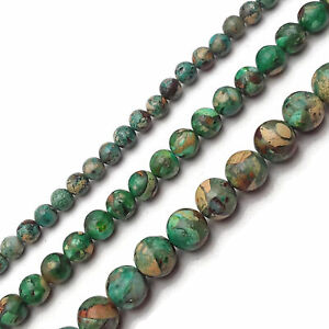 "Dark Green Aqua Terra Jasper Smooth Round Beads 6mm 8mm 10mm 15.5"" Strand"
