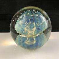 """🟢 Robert Eickholt Art Glass JELLYFISH Bubble 3 1/2"""" Paperweight - Signed 1987"""