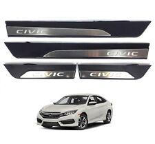 Side Sill Scuff Plate Door Outer Guard Black Illuminate For 2017-18 Honda Civic