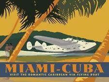 Miami-Cuba by David Grandin Flying Boat Airplane Retro Poster Art Print 12x16