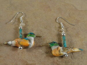 Hand Carved Turquoise Spiny Oyster & Agate Hummingbird Fetish Earrings