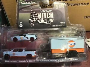 Greenlight Racing Hitch & Tow 2021 Chevy Silverado GULF & 2021 Corvette