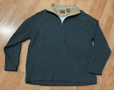 Men's Gray Tan Plush St. John's Bay Quarter Zip Up Pullover Heavyweight Sweater