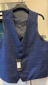 Moss London Mens Navy Blue Check Checked Tartan Waistcoat Suit Bnwt 46 R