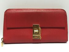 Auth Chloe Drew Red Leather Long Wallet