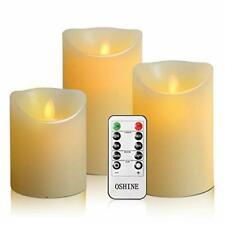 Luminara Flickering Moving Wick Flameless Pillar Candle Led Candles Remote Set 3