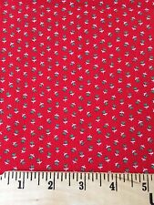 Fabric Cotton Mini Green Heart Flowers Red Background Calico Quilt Craft Print