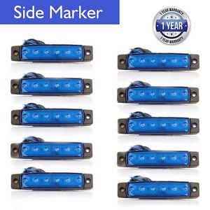 10 Pcs 24V 6 LED Side Marker Indicator Light Truck Trailer Lorry Clearance Blue