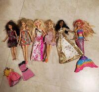 Mattel Barbie Doll Lot W Clothing & Accessories Dresses Shoes Mermaid & Skipper