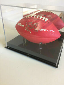 Mini size football displays case MIRROR BACK with solid base with tee pegs NFL