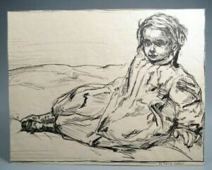 Fine American Ink on paper Study of a Girl by Maria Latasa Cadmus ca. 1900