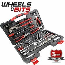 65pc ASSORTED TOOL KIT Socket Set Screwdrivers Spanners Ratchets Pliers