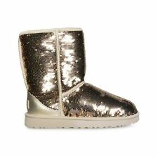 UGG CLASSIC SHORT SEQUIN GOLD COMBO FASHION SPARKLE WOMEN'S BOOTS SIZE US 9 NEW