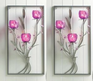 Floral Wall Candle Wall Sconces w/ 3 Magenta Glass Candle Holders Set of 2