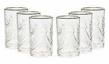Set of 6 Vintage Russian Crystal Tea Glasses For Metal Holder 'Podstakannik'
