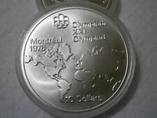 1976 Montreal Olympics 10.00 Dollar Silver Coin (World Map) 92.5% Silver