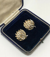 Vintage Clip On Earrings Gold Tone Faux Pearls Floral Design Fun Bold Kitsch
