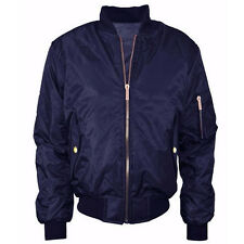 Womens Ma1 Classic Padded Bomber Jacket Ladies Vintage - Available in Plus Sizes M Navy