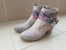Women Winter Fashion Beige Boots With Colorful Strip Size EUR 39 US 7.5 - Used