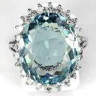 Women Fashion 925 Silver Oval Cut Aquamarine Ring Proposal Jewelry Size 6-10