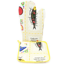 100% Cotton Oven Mitt and Pot Holder Set With Rooster & Sardine Design