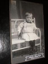 Cdv old photograph boy dress toy horse by Rossberg at Sebnitz  Germany c1900s