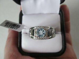 Mens Sky Blue Topaz Ring Size 12 Platinum bond TGW 1.80 cts.