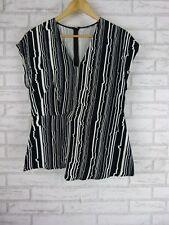 SABA Top/Blouse Sz 10 Black, White Print