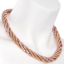 Oro Rosa Color Cristal Malla Retorcido Cadena De Cuerda Gargantilla &