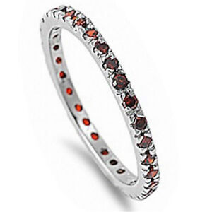 Stackable Garnet Cubic Zirconia .925 Sterling Silver Eternity Band